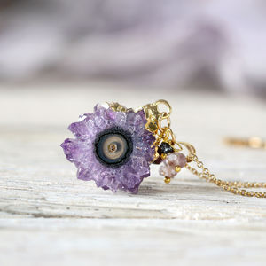 Amethyst, Diamond And Gold Necklace