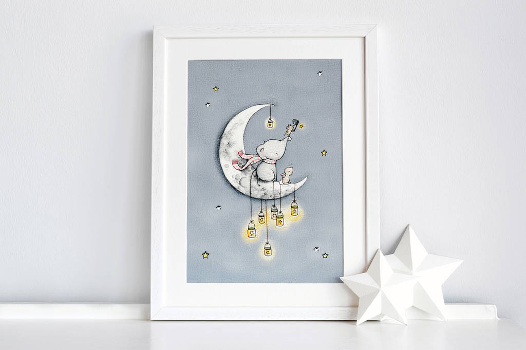 Personalised catching stars nursery print