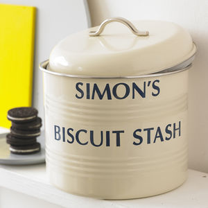 Personalised Enamel Biscuit Barrel - kitchen