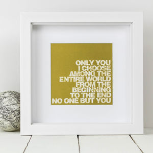 Anniversary Gift; Framed 'Only You' Love Print - posters & prints
