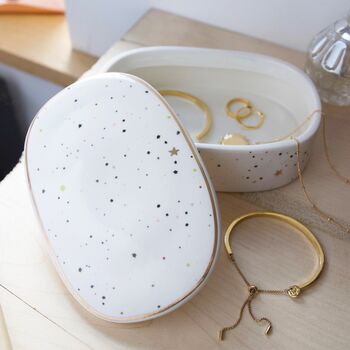 Speckled Stars Oval Trinket Box