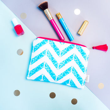 Aqua Chevron Tasselled Zip Pouch