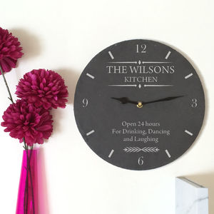 Personalised Slate Kitchen Wall Clock - clocks