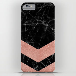 Black Marble With Rose Gold Pattern Phone Case - mens