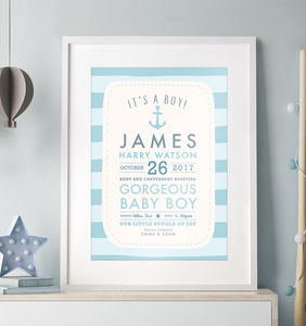 It's A Boy! Personalised Baby Details Print