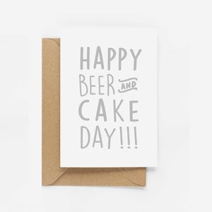 'Happy Beer And Cake' Birthday Card