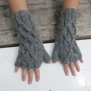 Fairtrade Handknit Wool Fleece Lined Wristwarmer Gloves - gloves