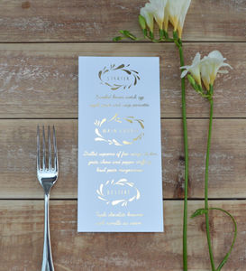 Flower Crown Foiled Wedding Menu