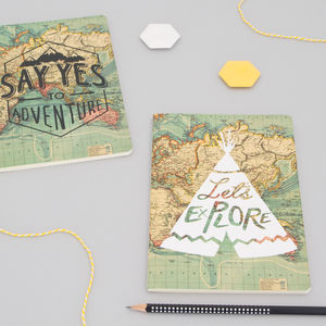 Vintage World Map Notebooks