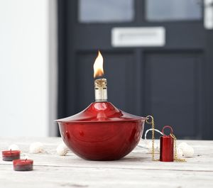 Red Garden Oil Lamp