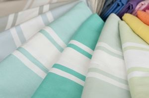 St Tropez Hamam Towel Shades Of Green - beach towels