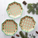 Green Foiled Christmas Tree Paper Plates Christmas