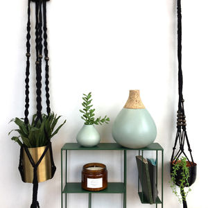 Black Macrame Plant Hanger - decorative accessories