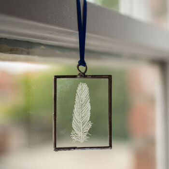 Feather Hand Engraved Glass Hanging Decoration
