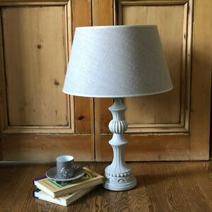 French Hand Carved Wooden Table Lamp And Shade