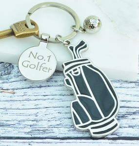 Personalised Black Golf Bag Keyring