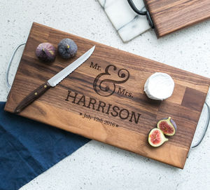 Personalised Large Walnut Or Oak Wedding Board - tableware