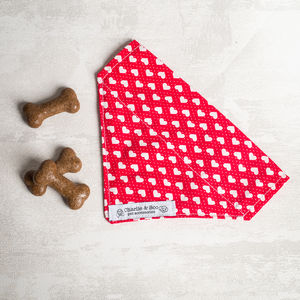Red Heart Dog Bandana For Girl Or Boy Dogs