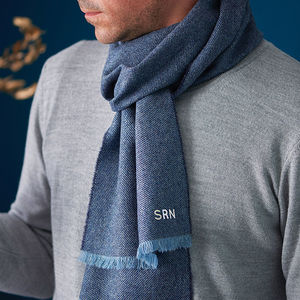 Monogrammed Lambswool Personalised Scarf - gifts for him