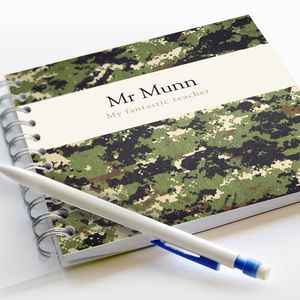 Personalised Camouflage Teacher Notebook - notebooks & journals