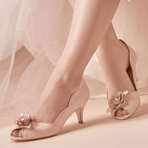 Grace Blush Ivory Leather Peep Toe Wedding Shoes - bridal shoes