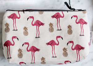 Flamingo And Pineapple Small Make Up Bag