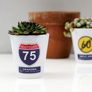 Personalised Road Sign Birthday Plant Pot - table decoration