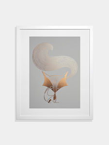 Foil Fox On Grey By I Ended Up Here - posters & prints