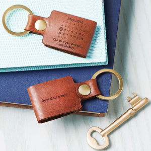 Personalised Never Forget Date Leather Keyring - for your other half