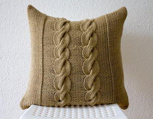 Chunky Hand Knitted Cable Cushion Cover - bedroom