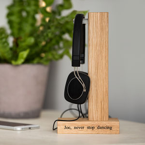 Personalised Solid Oak Headphone Stand - best gifts for him