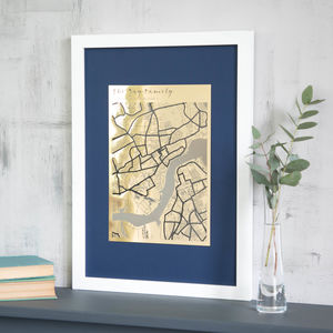 Personalised Metallic Map Engraving - mixed media & collage
