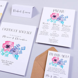 Table Plan, Number, Place Card, Menu:Petticoat Pastels