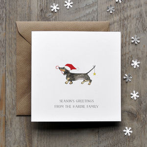 Dachshund With Hat Christmas Cards - cards sent direct