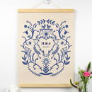 Personalised Cotton Anniversary Blue Print