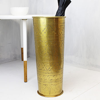 Gold Hand Etched Umbrella Stand