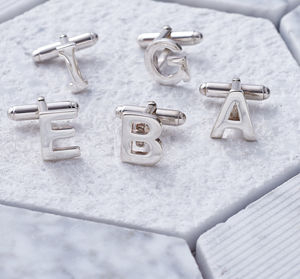 Sterling Silver Alphabet Initial Cufflinks - men's accessories