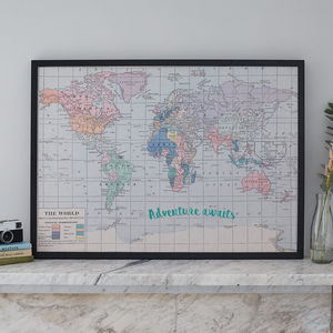 Printed Fabric World Map Noticeboard - kitchen