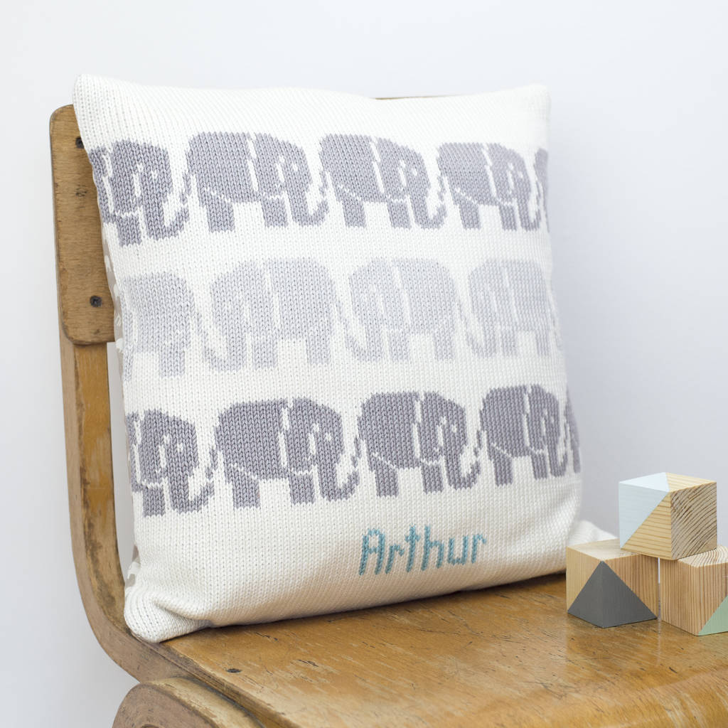 Personalised Elephants Knitted Cushion