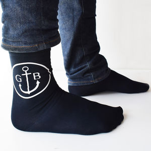 Personalised Mens Monogram Anchor Socks - summer sale