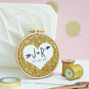 Personalised Wedding Favour Embroidery Hoop