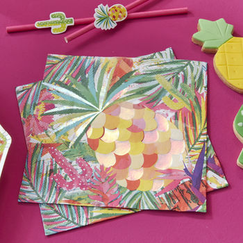 Tropical Pineapple Iridescent Foiled Paper Party Napkin