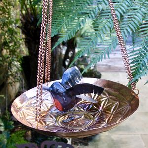 Hanging Flower Copper Birdbath - bird feeders