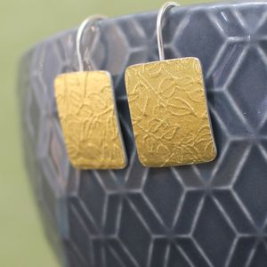 Golden Watercolour Vines Tag Earrings