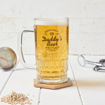 Personalised Daddy's Glass Beer Tankard