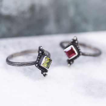 Antiqued Silver Ring In Peridot