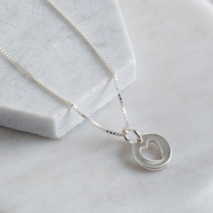 Sterling Silver Dainty Heart Cut Out Pendant