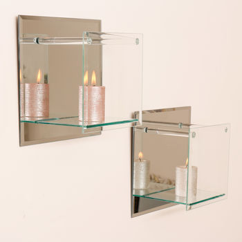Contemporary Square Mirrored Glass Shelf