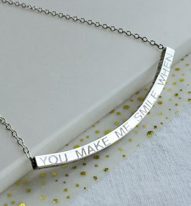Personalised Curved Silver Bar Necklace
