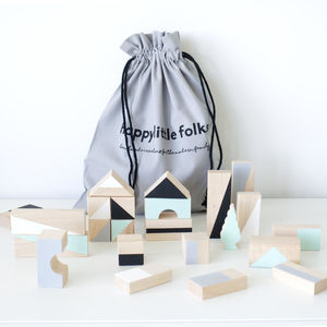Mint And Monochrome Wooden Blocks - dreamland nursery